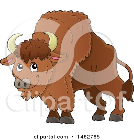 Clipart of a Happy Brown Bison - Royalty Free Vector Illustration by visekart