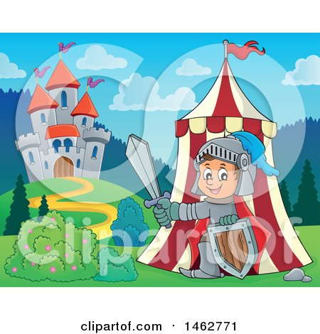 Clipart of a Happy Knight Emerging from a Tent on Castle Grounds - Royalty Free Vector Illustration by visekart