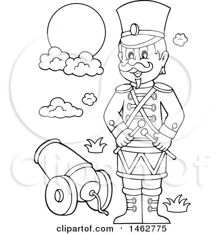 Clipart Of A Black And White Military Soldier By A Cannon