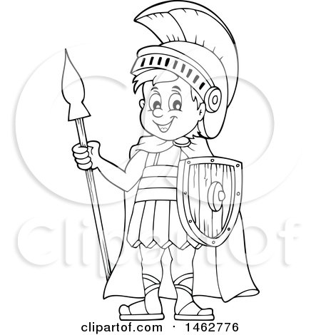 Clipart Of A Black And White Roman Soldier With A Spear