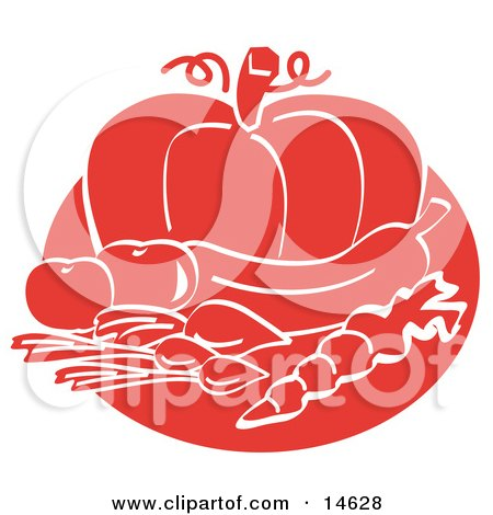 Food Still Life Of Beets Or Radishes, A Carrot, Eggplant, Tomatoes And A Pumpkin Clipart Illustration by Andy Nortnik