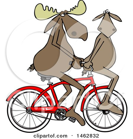 Clipart of a Moose Couple Riding a Bicycle, One on the Handlebars - Royalty Free Illustration by djart