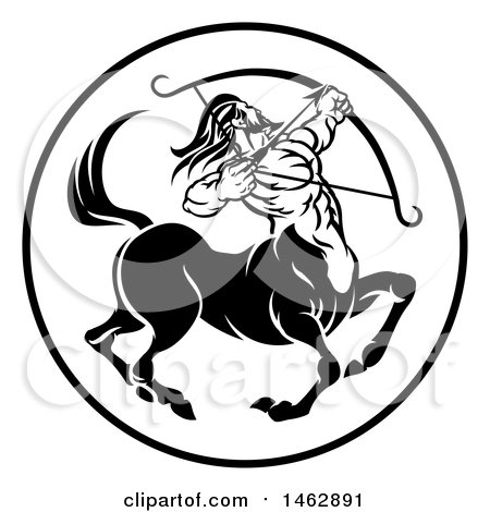 Clipart of a Black and White Zodiac Horoscope Astrology Centaur Sagittarius Circle Design - Royalty Free Vector Illustration by AtStockIllustration