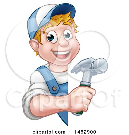 Cartoon Happy White Male Carpenter Holding a Hammer Around a Sign Posters, Art Prints