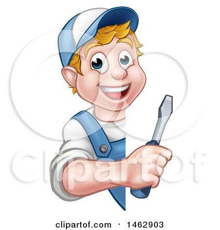 Cartoon Happy White Male Electrician Holding a Screwdriver Around a Sign Posters, Art Prints