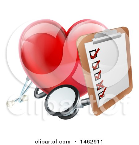 Clipart of a 3d Shiny Red Love Heart with a Clipboard and Stethoscope - Royalty Free Vector Illustration by AtStockIllustration
