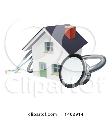 Clipart of a 3d Stethoscope Around a White Home - Royalty Free Vector Illustration by AtStockIllustration