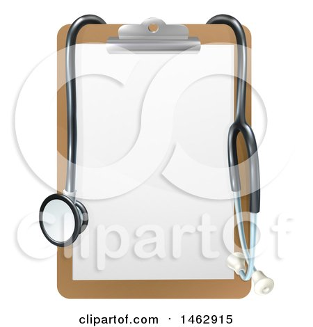 Clipart of a 3d Stethoscope Draped on a Clip Board - Royalty Free Vector Illustration by AtStockIllustration