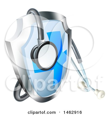 Clipart of a 3d Stethoscope Draped on a Medical Shield - Royalty Free Vector Illustration by AtStockIllustration