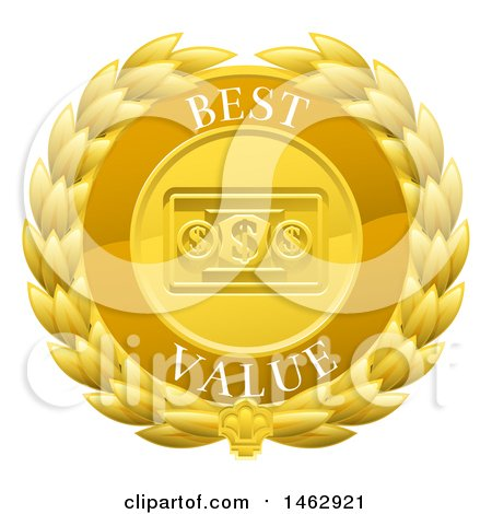 Clipart of a Laurel Wreath Badge with Best Value Text - Royalty Free Vector Illustration by AtStockIllustration