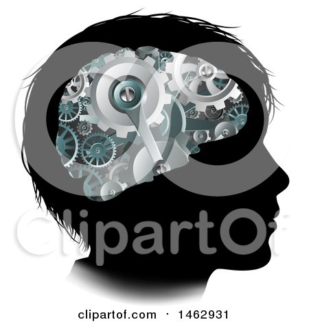 Clipart of a Black Silhouetted Boy's Head with 3d Gear Cogs Visible in His Brain - Royalty Free Vector Illustration by AtStockIllustration