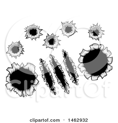 Clipart of Bullet Holes and Slashes Through Metal - Royalty Free Vector Illustration by AtStockIllustration