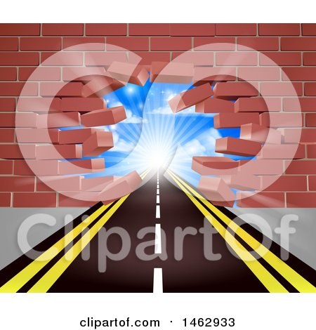 Clipart of a Road Leading Through a Hole in a 3d Red Brick Wall - Royalty Free Vector Illustration by AtStockIllustration