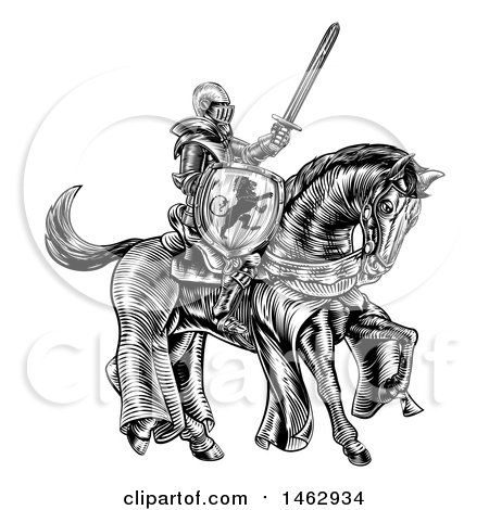 Clipart of a Black and White Etched or Woodcut Medieval Knight on a Horse, Holding a Sword and Shield - Royalty Free Vector Illustration by AtStockIllustration