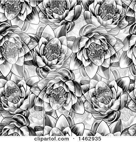 Clipart of a Black and White Seamless Woodcut Styled Water Lily Lotus Flower Background - Royalty Free Vector Illustration by AtStockIllustration