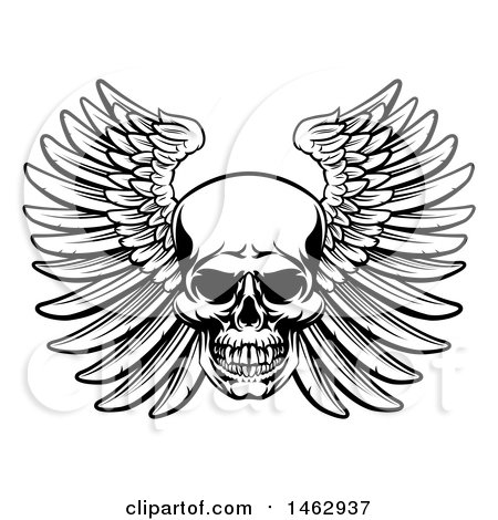 Clipart of a Black and White Woodcut Etched or Engraved Winged Skull - Royalty Free Vector Illustration by AtStockIllustration