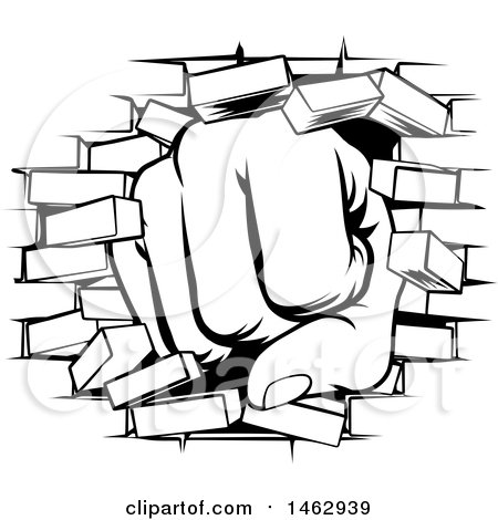 Clipart Of A Black And White Fist Punching Through Brick Wall