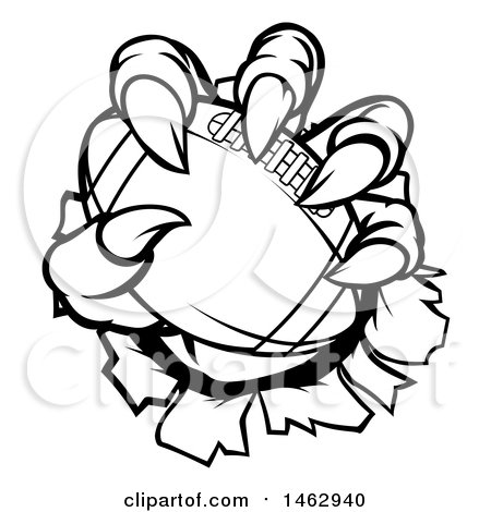 Clipart of Black and White Monster or Eagle Claws Holding a Football and Breaking Through a Wall - Royalty Free Vector Illustration by AtStockIllustration