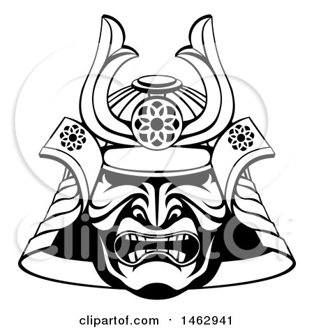 Clipart Of A Black And White Lineart Skull Asian Samurai Mask