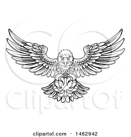 Clipart of a Black and White Cartoon Swooping American Bald Eagle with a Basketball in His Talons - Royalty Free Vector Illustration by AtStockIllustration