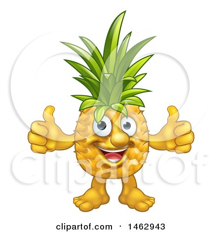 Clipart of a Pineapple Mascot Character Giving Two Thumbs up - Royalty Free Vector Illustration by AtStockIllustration