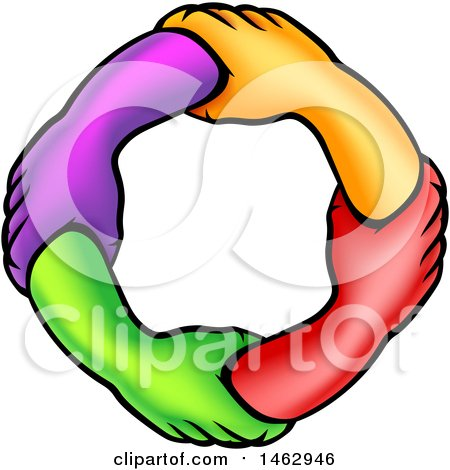Clipart of a Frame of Colorful Connected Hands - Royalty Free Vector Illustration by AtStockIllustration