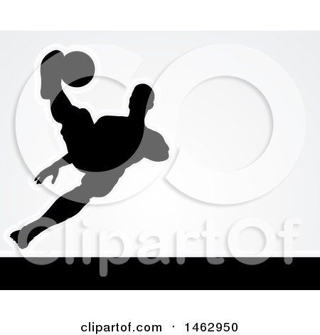 Clipart of a Black Silhouetted Male Soccer Player Kicking over Light Gray - Royalty Free Vector Illustration by AtStockIllustration