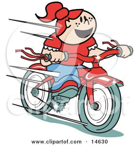 Happy Red Haired Girl Speeding Downhill On Her Brand New Red Bike  Posters, Art Prints