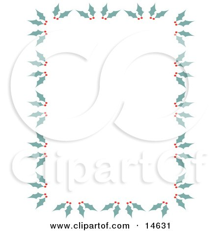 Stationery Border Of Holly And Berries Retro Clipart Illustration by Andy Nortnik