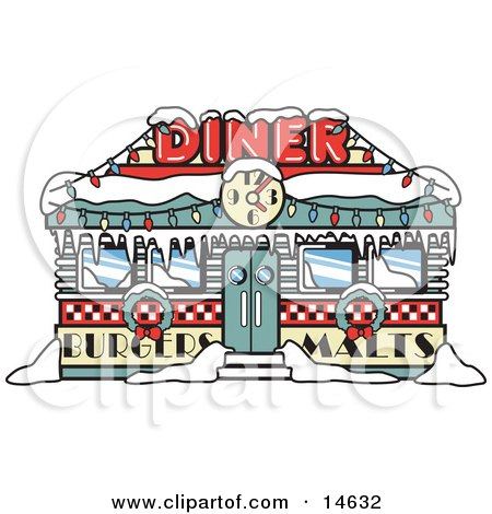 Retro Diner In Snow, Decorated In Christmas Wreaths And Lights Retro Clipart Illustration by Andy Nortnik