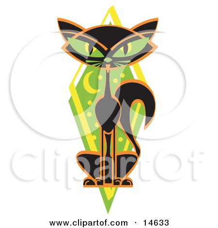 Mysterious Thin Black Cat Sitting In Front Of A Green Diamond With The Moon And Stars Clipart Illustration by Andy Nortnik