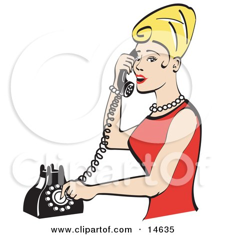 Pretty Blond Woman With Tall Hair, Wearing Pearls And A Red Dress And Talking On A Rotary Dial Landline Telephone  Posters, Art Prints
