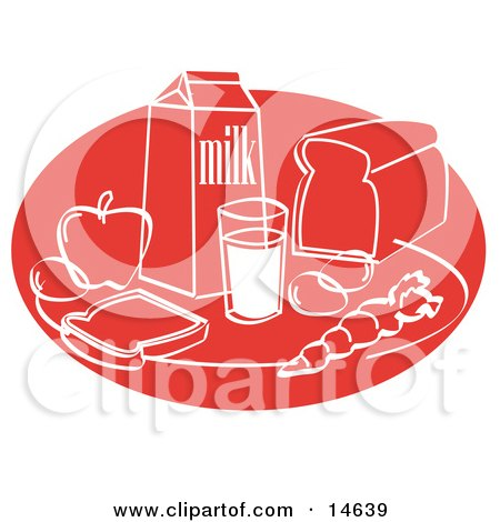Still Life Of Food Including Eggs, Apple, Carton Of Milk, Glass Of Milk, Sliced Bread, And A Carrot Clipart Illustration by Andy Nortnik