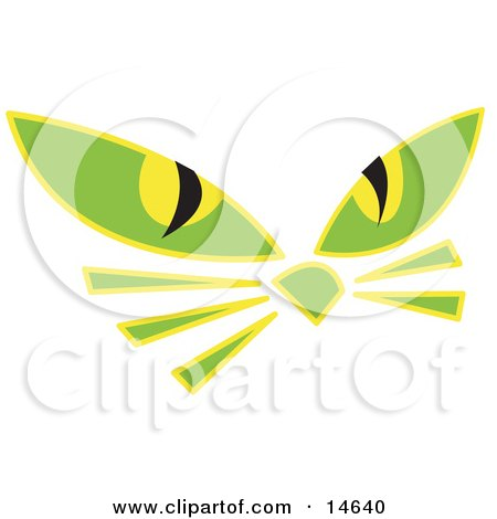 Pair of Green Cat Eyes and Whiskers Glowing in the Dark Clipart Illustration by Andy Nortnik