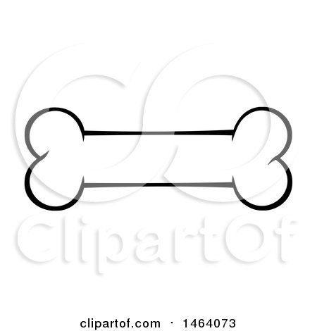 Clipart of a Black and White Dog Bone - Royalty Free Vector Illustration by Hit Toon