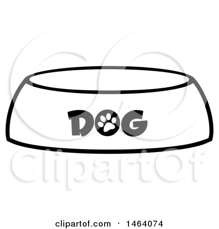 Clipart of a Black and White Dog Bowl - Royalty Free Vector Illustration by Hit Toon