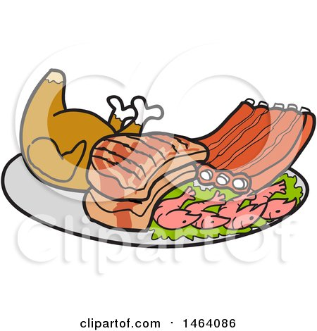 Clipart of a Platter of Roasted Chicken, Pork Chops, Ribs and Shrimp - Royalty Free Vector Illustration by LaffToon