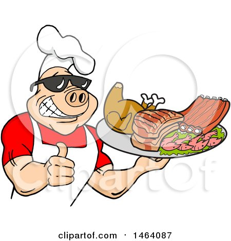Clipart of a Happy Muscular Chef Pig Wearing a Hat and Sunglasses, Holding a Thumb up and a Plate of Bbq Meats - Royalty Free Vector Illustration by LaffToon