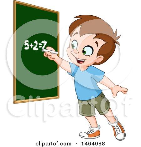 Clipart of a Smart School Boy Solving an Addition Math Problem on a Chalk Board - Royalty Free Vector Illustration by yayayoyo