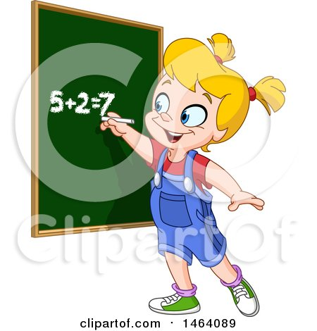 Clipart of a Smart School Girl Solving an Addition Math Problem on a Chalk Board - Royalty Free Vector Illustration by yayayoyo