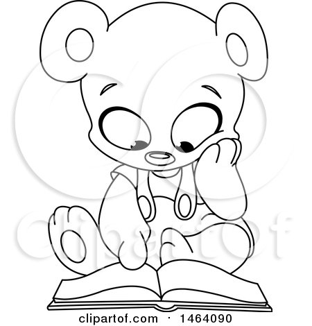 Clipart of a Black and White Cute Teddy Bear Reading a Book - Royalty Free Vector Illustration by yayayoyo