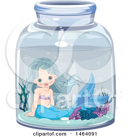 Clipart of a Cute Mermaid in a Jar - Royalty Free Vector Illustration by Pushkin