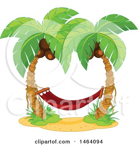 Clipart of a Red Hammock Between Two Coconut Palm Trees - Royalty Free Vector Illustration by Pushkin