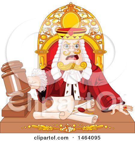 Clipart of a King Judge Banging a Gavel over Documents - Royalty Free Vector Illustration by Pushkin