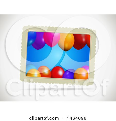 Clipart of a Gift Card with Party Balloons, on a Shaded Background - Royalty Free Vector Illustration by elaineitalia