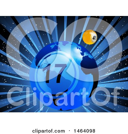Clipart of a Lottery of Bingo Ball Earth and Yellow Ball in Orbit over Rays - Royalty Free Vector Illustration by elaineitalia