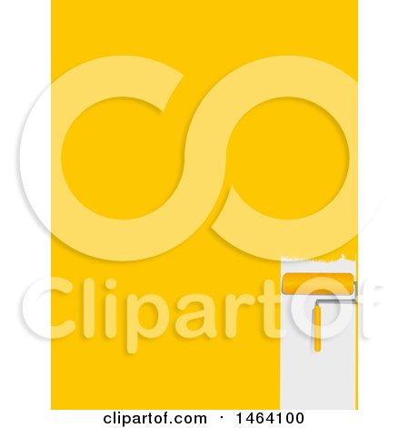 Clipart of a Roller Paint Brush and Yellow Stroke Background - Royalty Free Vector Illustration by elaineitalia