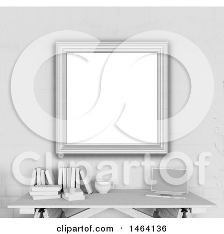 Clipart of a 3d Blank Picture Frame over a Desk - Royalty Free Illustration by KJ Pargeter