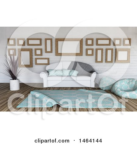 Clipart of a 3d Room Interior - Royalty Free Illustration by KJ Pargeter