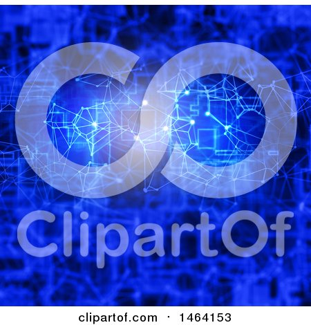 Clipart of a Blue Digital Connections Networking Background - Royalty Free Illustration by KJ Pargeter